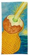 Lime Coconut Pineapple Guitar Beach Towel