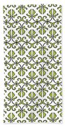 Lime Green And White Vines Beach Towel