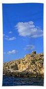 Limestone Rock, Mediterranean Sea, Malta Beach Towel