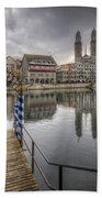 Limmat River Reflections Beach Towel