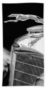 Lincoln Hood Ornament - Grille Emblem -1187bw Beach Towel