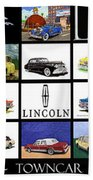 Poster Of Lincoln Cars Beach Towel