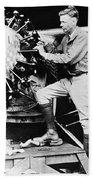 Lindbergh Tunes Up Plane Beach Sheet
