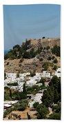Lindos Acropolis Looking Seaward Beach Towel