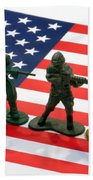 Line Of Toy Soldiers On American Flag Crisp Depth Of Field Beach Towel