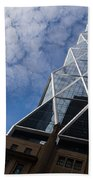 Lines Triangles And Cloud Puffs - Hearst Tower In New York City Beach Towel