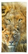 Lion And Lioness- African Royalty Beach Towel