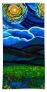 Lion And Owl On A Starry Night Beach Towel