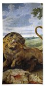 Lion And Three Wolves Beach Towel
