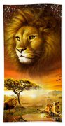 Lion Dawn Beach Towel by Adrian Chesterman