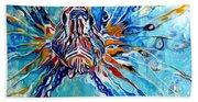 Lion Fish Blue Beach Towel