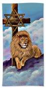 Lion Of Judah At The Cross Beach Towel