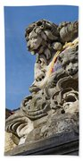 Lion Statue In Bruges Beach Towel
