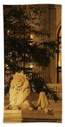 Lion Statue In New York City Beach Towel