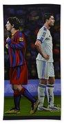 Lionel Messi And Cristiano Ronaldo Beach Towel