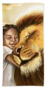 Lion's Kiss Beach Towel by Tamer and Cindy Elsharouni