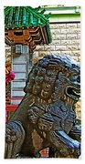 Lions Roar At Entry Gate To  Chinatown In San Francisco-california  Beach Towel