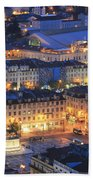 Lisbon At Night Portugal Beach Towel