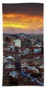 Lisbon At Sunset Beach Towel by Carlos Caetano