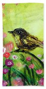 Little Bird In Green Beach Towel