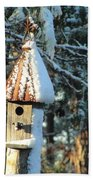 Little Birdhouse In The Woods Beach Towel