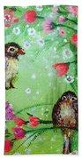 Little Birdies In Green Beach Towel