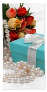 Little Blue Gift Box With Pearls And Flowers Beach Towel