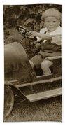 Little Boy In Toy Fire Engine Circa 1920 Beach Towel