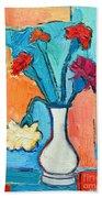 Little Carnations China Pink Flowers Beach Towel by Ana Maria Edulescu