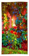 Little Country Scene Pink Flowers Climbing Leaves On Wood Fence Colors Of Quebec Art Carole Spandau Beach Towel