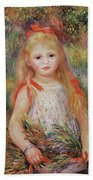 Little Girl Carrying Flowers Beach Towel by Pierre Auguste Renoir