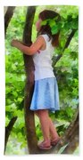 Little Girl Playing In Tree Beach Towel