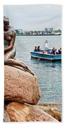 Little Mermaid Statue With Tourboat Beach Sheet