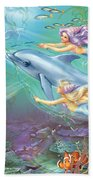 Little Mermaids And Dolphin Beach Towel