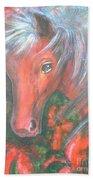 Little Red Horse Beach Towel