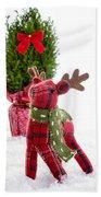 Little Reindeer Christmas Card Beach Towel