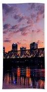 Little Rock Bridge Sunset Beach Towel