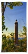 Little Sable Lighthouse Seen Through The Trees Beach Towel