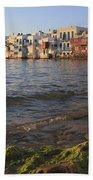 Little Venice At Sunset Mykonos Town Cyclades Greece  Beach Towel