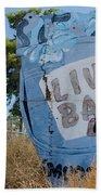 Live Bait Sign And Muffler Man Statue Beach Towel
