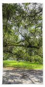 Live Oaks Dripping With Spanish Moss Beach Towel