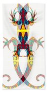Lizard Love An Abstract Reptilian Adventure Beach Towel