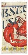 Lobster House Beach Towel by Debbie DeWitt