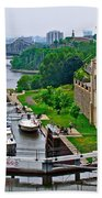 Locks On Rideau Canal East Of Parliament Building In Ottawa-on Beach Towel