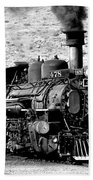 Locomotive Black And White Train Steam Engine Beach Towel