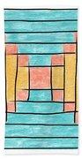 Log Cabin Variation - Retro Seafoam Beach Towel