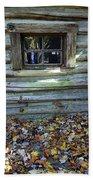 Log Cabin Window And Fall Leaves Beach Towel