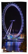 London Eye By Night Beach Towel