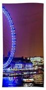 London Eye Night Glow Beach Towel