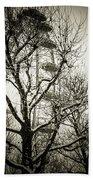 London Eye Through Snowy Trees Beach Sheet